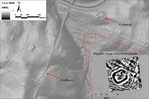 A bare-earth digital elevation model (DEM) of a collection of enclosures in Central Kentucky. Inset picture is magnetometer imagery from an enclosure that is not visible on the ground. The black ring corresponds to the buried ditch; the white area surrounding that is the signature of the embankment. Note the break in the ditch that represents the causeway into and out of the interior space.