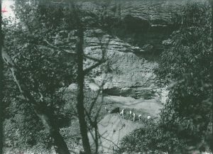 Trenching at Big Ash Cave in Kentucky during the 1920s. This is one of the many dry rockshelters in Kentucky where textiles have been found. Courtesy the William S. Webb Museum of Anthropology, University of Kentucky.
